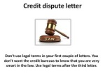 First Credit Dispute Letter to Credit Bureaus