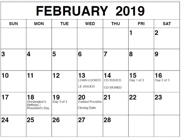 February 2019 Federal Holidays impact on mortgage closings