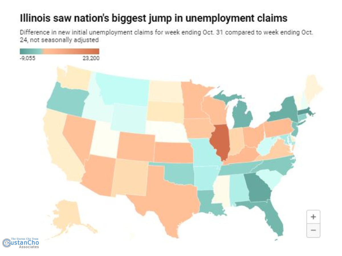 Did Illinois see the biggest increase in unemployment claims?